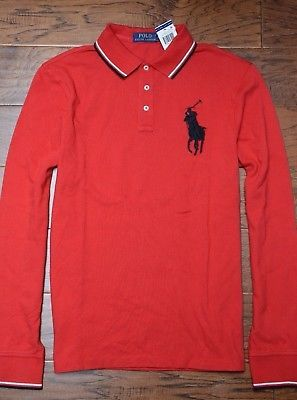 e3222de0b420 NWT Polo Ralph Lauren Men s Long Sleeve Big Pony Classic Fit Cotton Polo  Shirt L