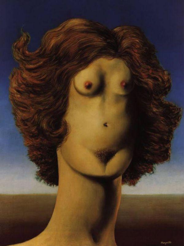 Reproduction de Magritte, Viol. Tableau peint à la main dans nos ateliers. Peinture à l'huile sur toile.