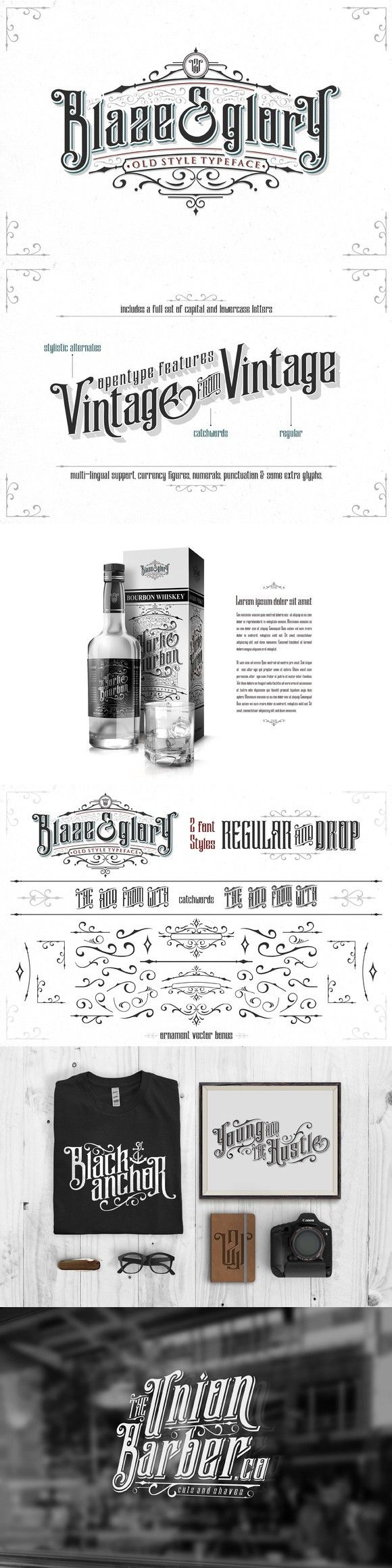 Blaze & Glory Typeface + Extras. Blackletter Fonts. $15.00