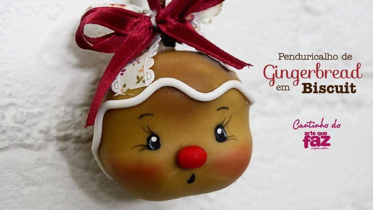 Penduricalho de Gingerbread em Biscuit (Bia Cravol)