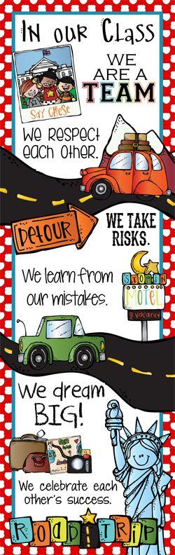 ROAD TRIP Theme Classroom Decor/ Character Education Banner / X-Large / In Our Class / Vistaprint.com / JPEG / ARTrageous FUN