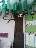 Preschool tree:  This tree in our preschool classroom is my favorite area.  I used a flat twin sheet for the trunk and strips of green fabric and tulle draped from the ceiling.  Apples the kids made are hanging from the tree.  The decorating possibilities are endless!!