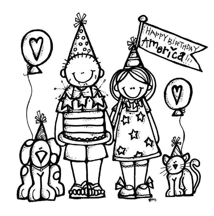 MelonHeadz Happy Birthday America! Black & White Clip