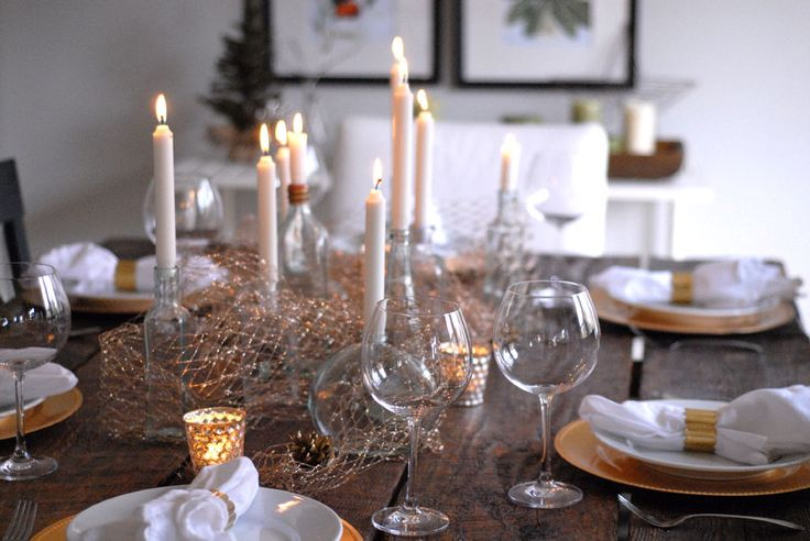 Pared down and rustic gold and white tablescape from Restored Style