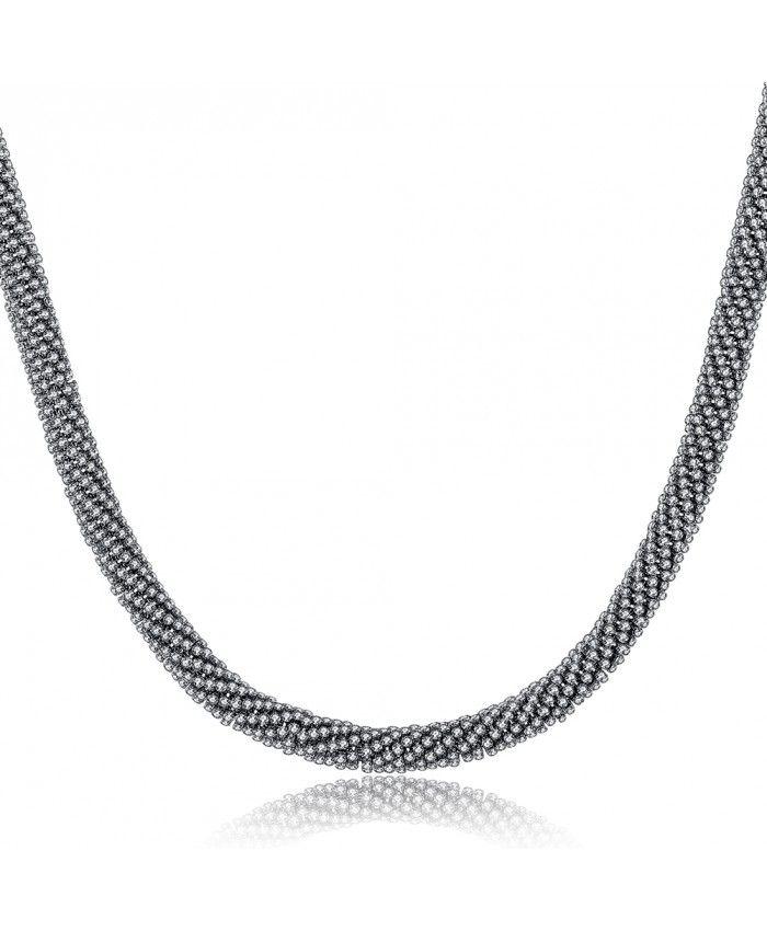 Choker Chunky Small Crystal Diamonds Necklace Gun Colour Plated Transparent
