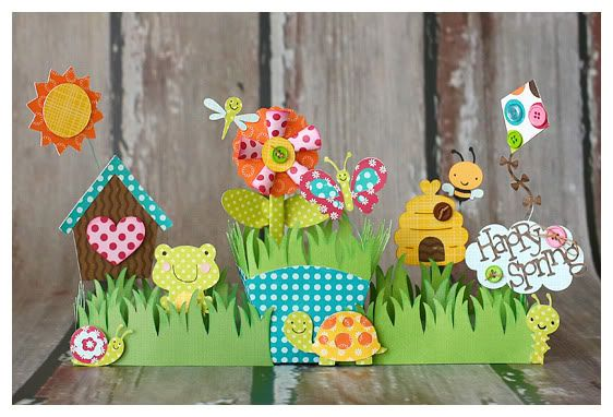 happy spring table decoration...could cut this all out with the cricut I mooched off my friend. :)