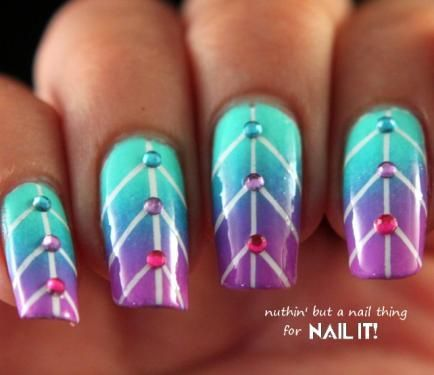 Nail Art How To: Create These Striped Ombre Leaf Nails by Nuthin' But a Nail Thing! | Nail Designs, Nail Design, Nail Designs Fashion, Nail Tutorial, Rhinestones, Blue, Purple, Gradient, Gems, Step-by-Step | Nail It! Magazine