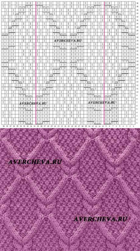 Узор спицами 975 «Ромбы из кос» | каталог вязаных спицами узоров