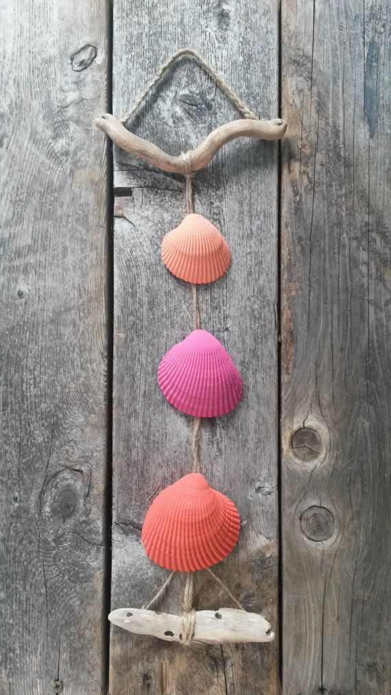 Signe de Seashell suspendus décor bois flotté rose corail Orange Fuchshia corde Shell Beach décoration nautique Ocean