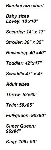 Chart for Blanket Sizes < Receiving to King Size Bed / PI