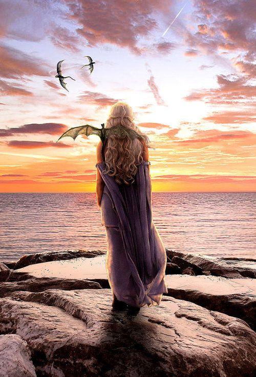 Daenerys Targaryen and her dragons. (artwork)