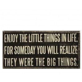 eNJOY THE LITTLE THINGS IN LIFE, FOR SOMEDAY YOU WILL REALISE THEY WERE THE BIG THINGS.....