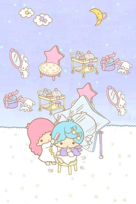 Little Twin Stars: Sanrio Character, Iphone Wallpapers 90S, Kawaii Wallpapers, Stars Wallpapers, Little Twin Stars, Hello Kitty, Bastel, Sanrio Wallpapers, Stars Adorable