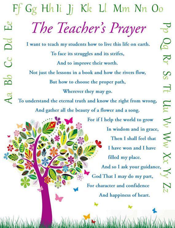 Teacher's Prayer Teacher Gift Wall Art Print by DoItAllDiva, $8.00