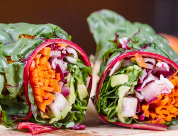 Sesame Ginger Asian Wraps: who knew so much nourishing goodness could be wrapped in a Swiss chard leaf? (raw, vegan)