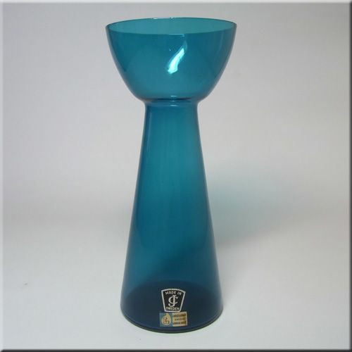 Lindshammar Swedish blue glass vase, designed by Gunnar Ander, labelled. Imported to the UK by JC (Jones & Co).