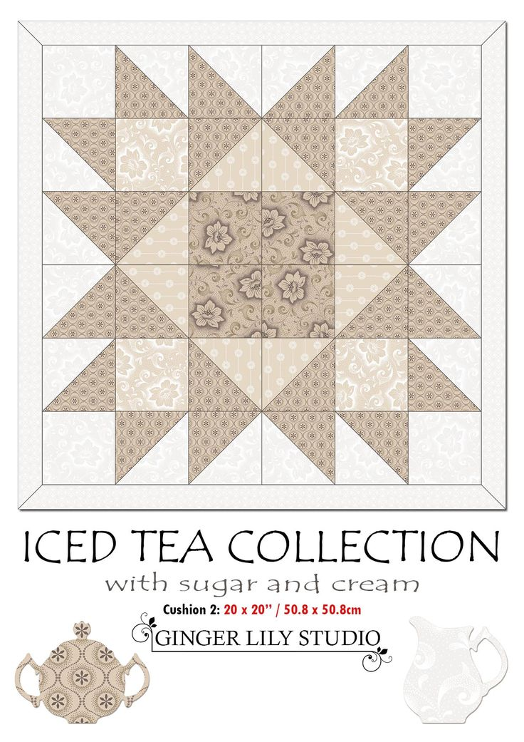 """1 Iced Tea Collection Cushion Pattern2. The Pdf of the Iced Tea 20 x 20"""" (50.8 x 50.8cm) Cushion 2 Pattern is available for free download here: http://www.gingerlilystudio.com/wp-content/uploads/2016/04/Iced-Tea-Collection-cushion2-pattern.pdf"""