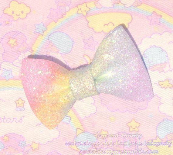 Rainbow Sparkly Fairy Kei Bow 2-Way Pin / Hair Clip