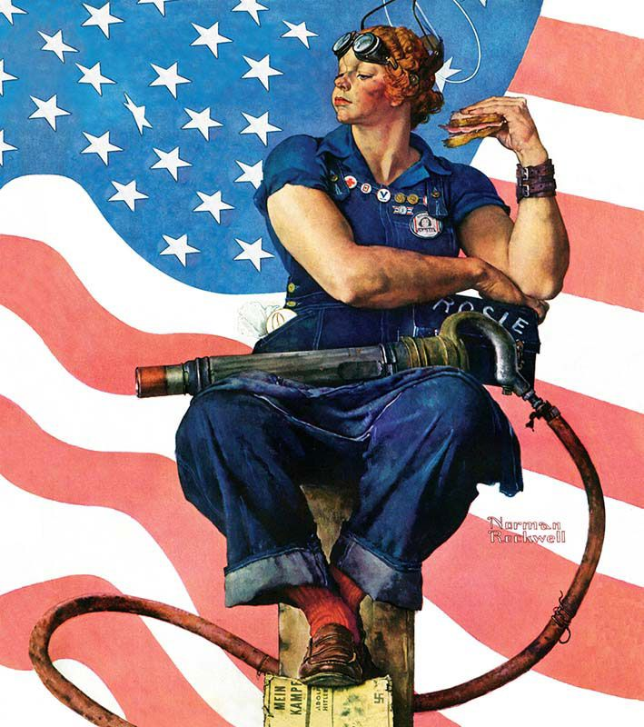 Rosie the riveter by norman rockwell  I'll never forget seeing her live in Arlington Vt.
