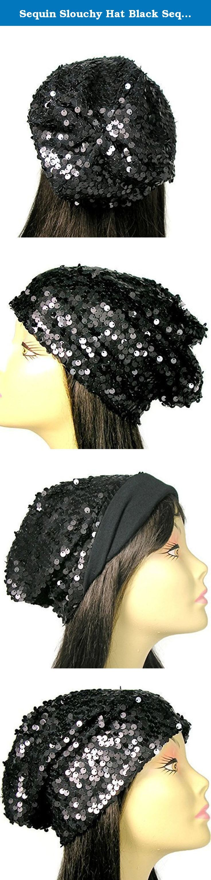 "Sequin Slouchy Hat Black Sequin Slouchy Beanie Glam Hats for Hair Loss Chemo Caps Womens Slouchy Beanies Lined Sequin Beanies. Black sequin slouchy beanie is fully-lined in 100% black cotton jersey. Comfortable for people suffering hair loss due to chemotherapy or alopecia No raw edges or exposed seams Approximate Measurements: stretches to 24"" circumference X 9-10"" high Glitzy gift for a person suffering hair loss. Make them feel glamorous again. Not sure of what size? People who have…"