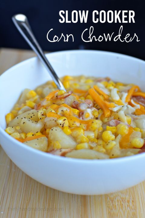 Slow Cooker Corn Chowder thirtyhandmadedays.com