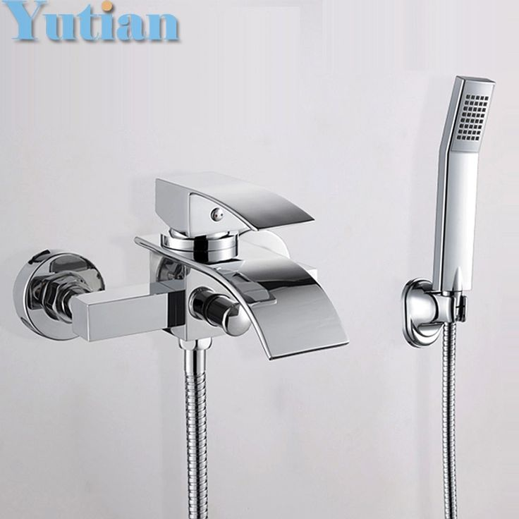 79.99$  Watch here - http://alija3.worldwells.pw/go.php?t=32476881955 - Free shipping Polished Chrome Finish New Wall Mounted Waterfall Bathroom Bathtub Handheld Shower Tap Mixer Faucet  YT-5330