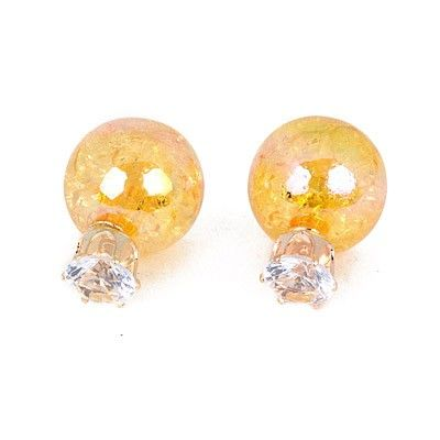 Marvelous Yellow Round gorgeous Stud Earrings