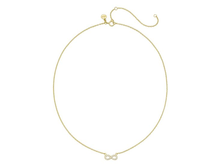 ladies sparkle infinity necklace gold