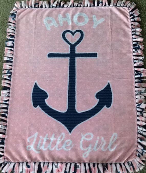 Ahoy little girl pink print fleece tie blanket, Nursery blanket, #nautical blanket. Shop here: https://www.etsy.com/listing/272904830/ahoy-little-girl-pink-print-fleece-tie?ref=shop_home_active_1 #anchor #simpleesweetboutique