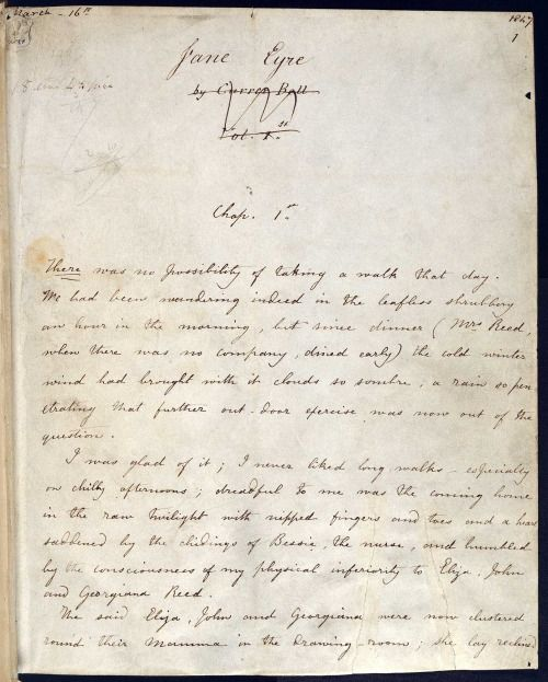 The original 1847 manuscript for Jane Eyre, in Charlotte Brontë's own handwriting. Under the title it says 'Currer Bell', which is the male pen-name Charlotte used.