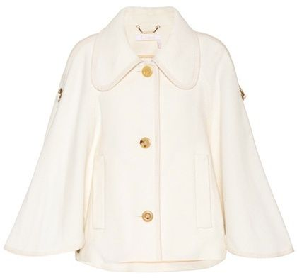 £1,225 - #Chloé Wool-blend jacket | #Ad | White Coat with Gold Buttons and Gold Hardware