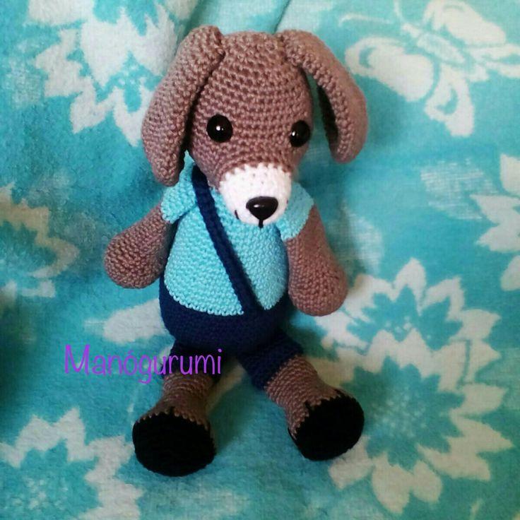 Cute crochet dog in overall - amigurumi