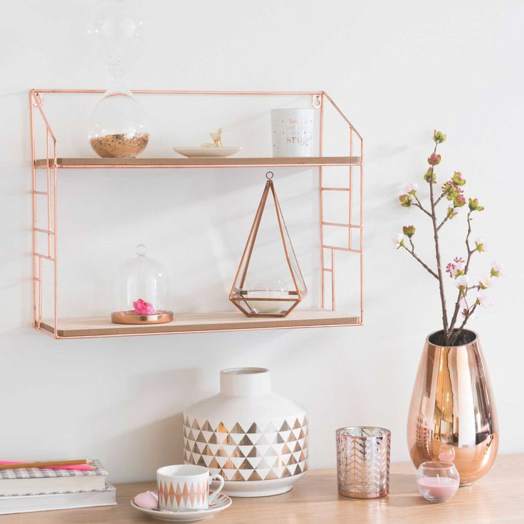 LULEA Copper Metal Wall shelf Maisons du Monde Gold