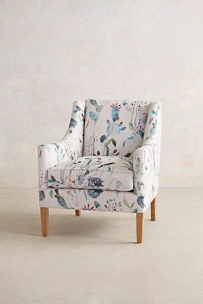 Not a lot of pink in this one, but definitely a pretty pattern that would work with a blue sofa. Harper Armchair #anthropologie