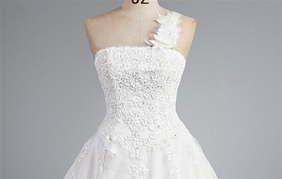 White One Shoulder Tulle Lace Wedding dress S283 by Susiewear, $468.00