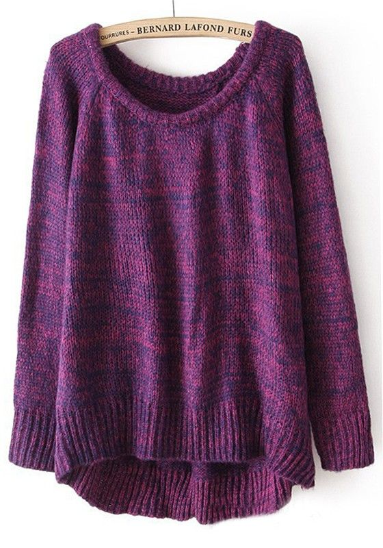 Purple Plain Irregular Collarless Loose Cotton Blend Sweater