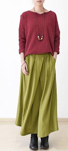 2016 fall Burgundy linen skirt plus size long maxi skirts