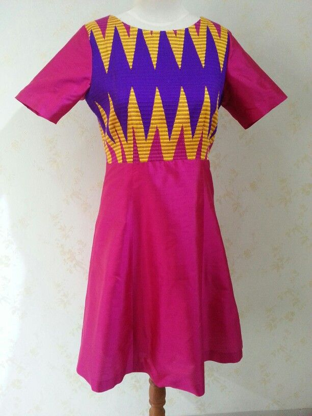 Custom order - Balinese tenun rangrang and silk dress (Facebook: Kreasi Dongengan)