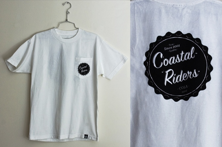 Coastal Riders Skateboard Shop.  Bottle Cap Pocket Tee.