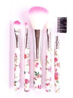 Rosa virágmintás sminkecset készlet