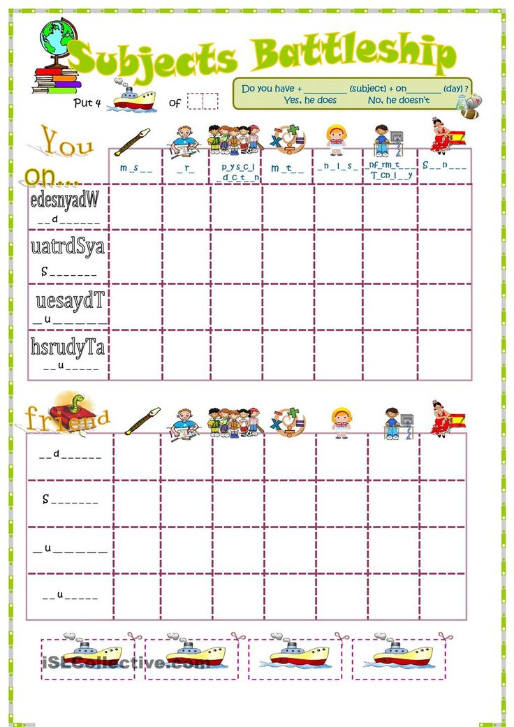 Sample Battleship Game Subjects And Days Week Battleship Game Best