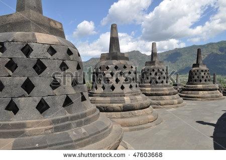Ancient Bells Borobudur Temple, Yogyakarta, Java, Indonesia: Stockings Photos, Photos 47603668