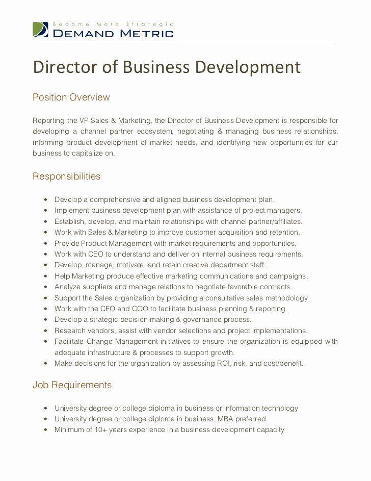 Sales Manager Job Description Resume Unique Director Of Business Development Job Descriptio In 2020 Sales Manager Jobs Job Description Template Relationship Management