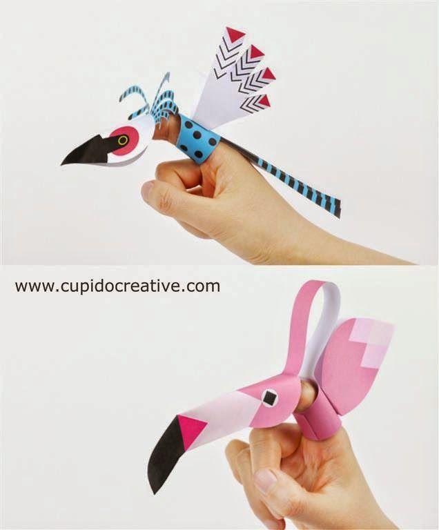 prakarya anak SD, membuat sendiri gunting tempel burung flamingo dan burung biru
