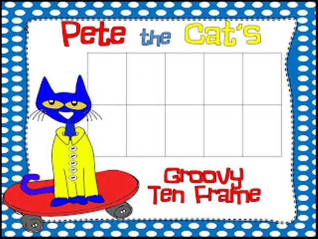 73 Cool Pete the Cat Freebies and Teaching Resources :: KindergartenWorks - Groovy Ten Frame Mat – Get groovy with Pete as you are working with numbers. This ten frame can be used for a variety of things. I love using ten frames during our calendar time, in math zones and making my own!
