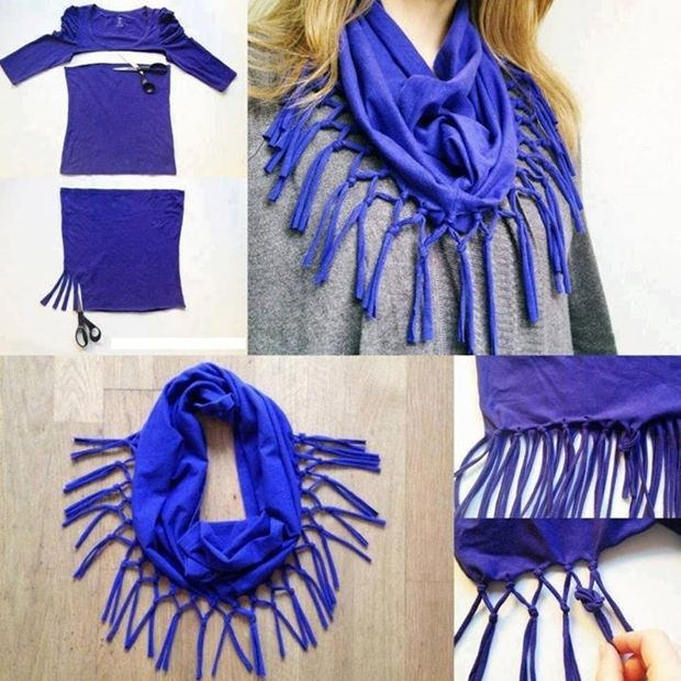Here is a nice idea to reuse your old t-shirt , turn it into a cute scarf . It is very easy because it doesn`t involve sewing! You will need: - t-shirt; - scissors. Directions: 1. Start by cutting the t-shirt under the sleeves to prepare the scarf's base. 2. Cut about 20 cm fringes all around the fabric, where it has no hem. 3. Stretch down each fringe to make it longer. Join the fringes by twos and tie knots. 4. Detach the tied fringes and knot again by twos, but with the next fringe. Have…