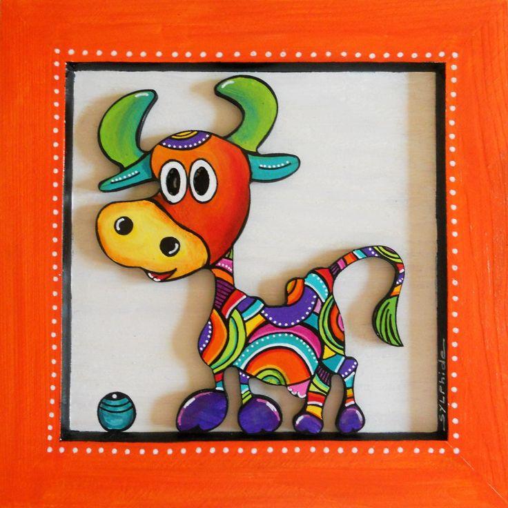 Tableau en bois peint d' Hermine la petite vache : Décorations murales par sylphide