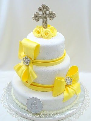 This Stunning Cake is Truly Glorious in its Elegant Simplicity of Line & Decoration. What better way to Celebrate a Springtime Baptism, than with a Splash of Beautiful Fresh Buttercup Yellow!