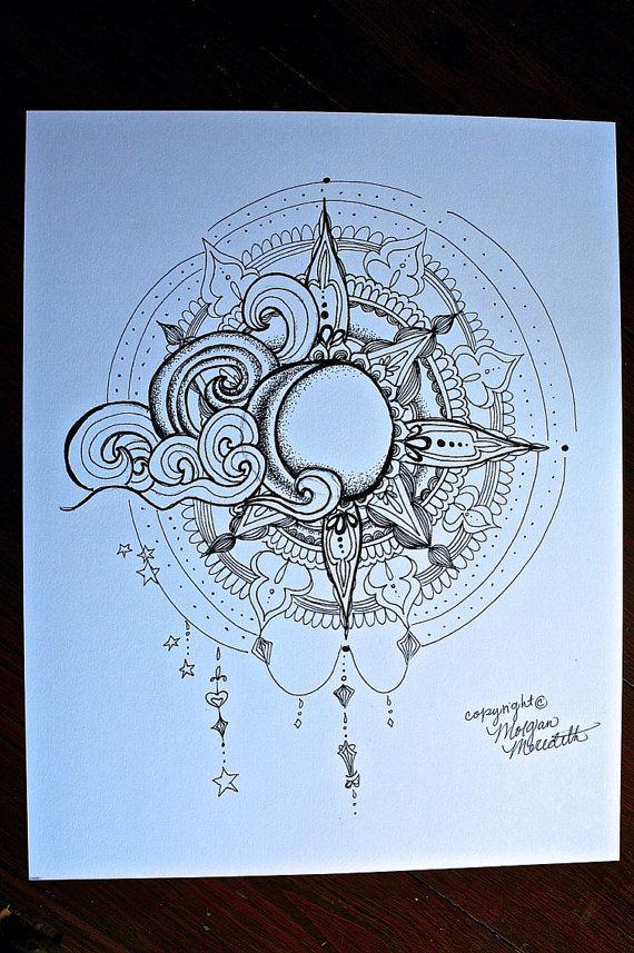 Impresión arte el sol y Luna Tattoo arte dibujo por MorgansCanvas