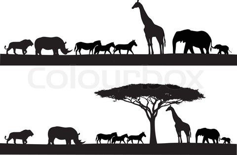 Stock vector of 'Safari animal silhouette'